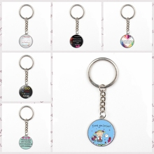 2019 Charm thank you teacher keychain for teaching text pendant teachers gift glass bag car keyring men women jewelry