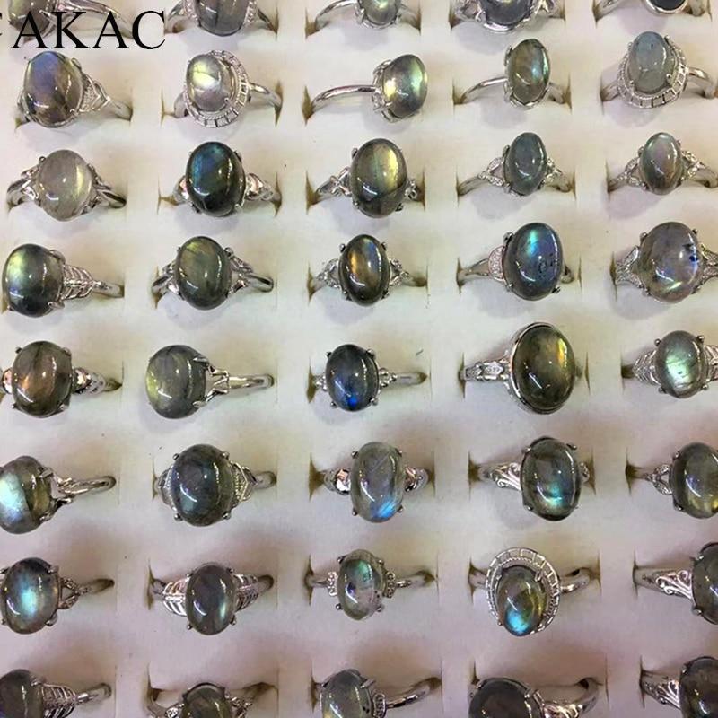 2rings/set AKAC natural labradorite white copper adjustable ring for women men send randomly wholesale
