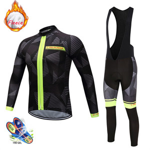 Image 3 - 2020 new Winter Thermal Fleece Cycling Jersey Set Breathable Ropa Ciclismo Men Long Sleeve MTB Bike Clothes Outdoor Sports Shirt