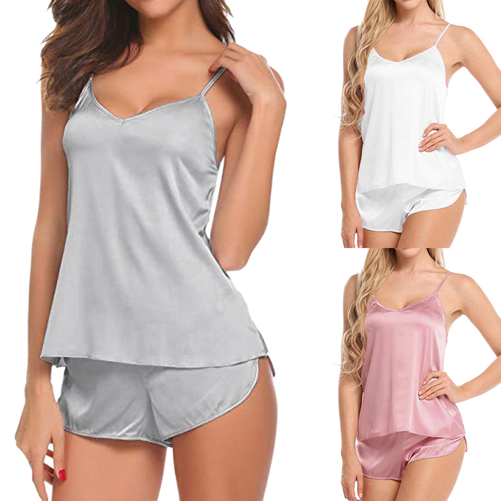 Spring Summer Sexy Imitated Silk Fabric WOMEN'S Pajamas V-neck Lace Camisole Sleeveless Shorts Women's Home Wear