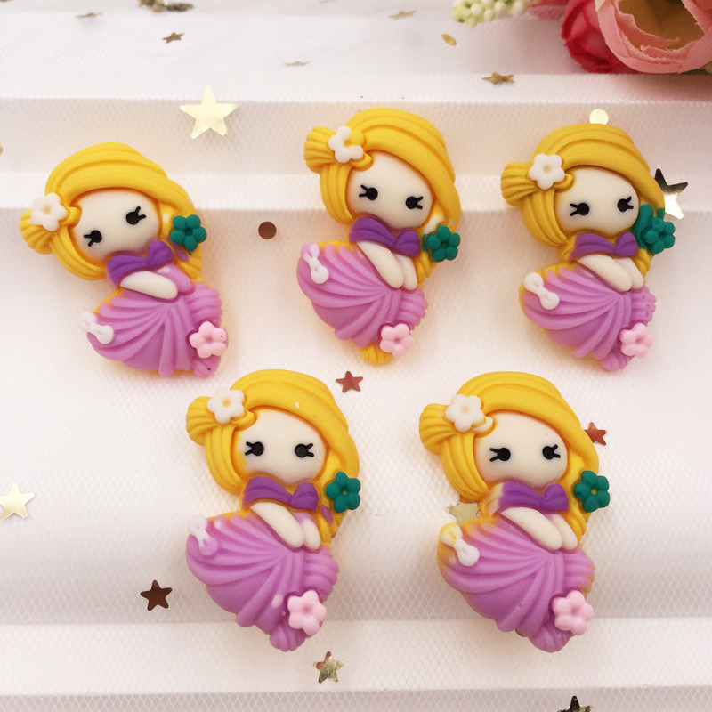 Hand Painted Resin Kawaii Colorful Girl Flatback Cabochon Stone 7PCS Scrapbook DIY  Decor Home Figurine Crafts /Purple