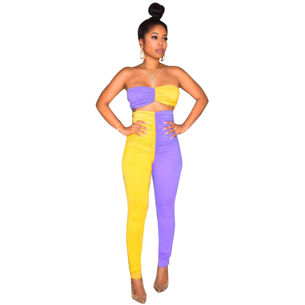 Ls6238 WOMEN'S Dress  Europe And America Classic Hot Selling-Wrap-around Fashion Joint Two-Piece Set