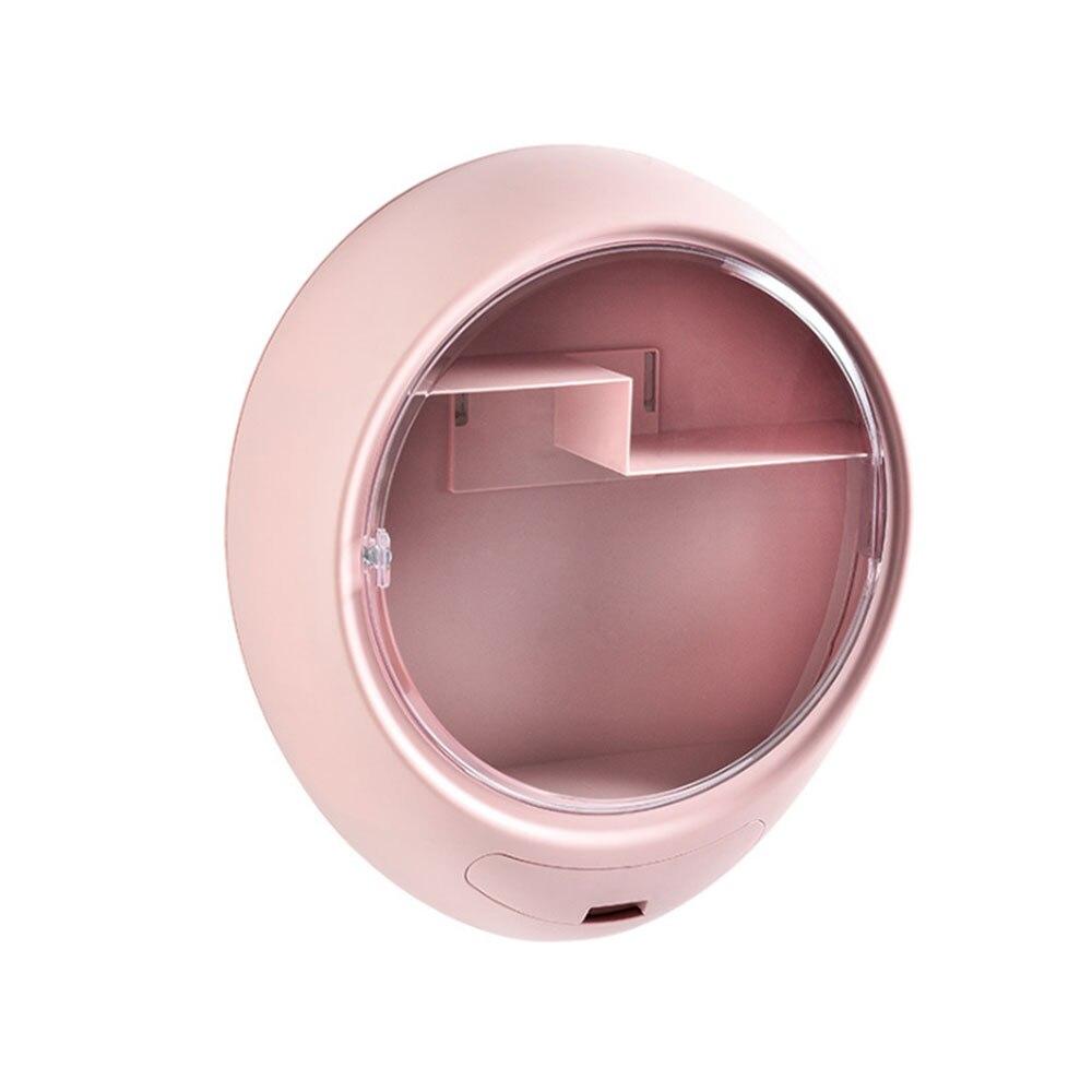 Caja de almacenaje para maquillaje colgante de pared organizador de maquillaje de baño tipo cajón caja de cosméticos transparente de plástico ABS a prueba de polvo Caja de almacenamiento de pasteles, tocador de escritorio para el hogar, estante de perfume de tocador para baño, estante de acabado giratorio, bandeja organizador de tortas