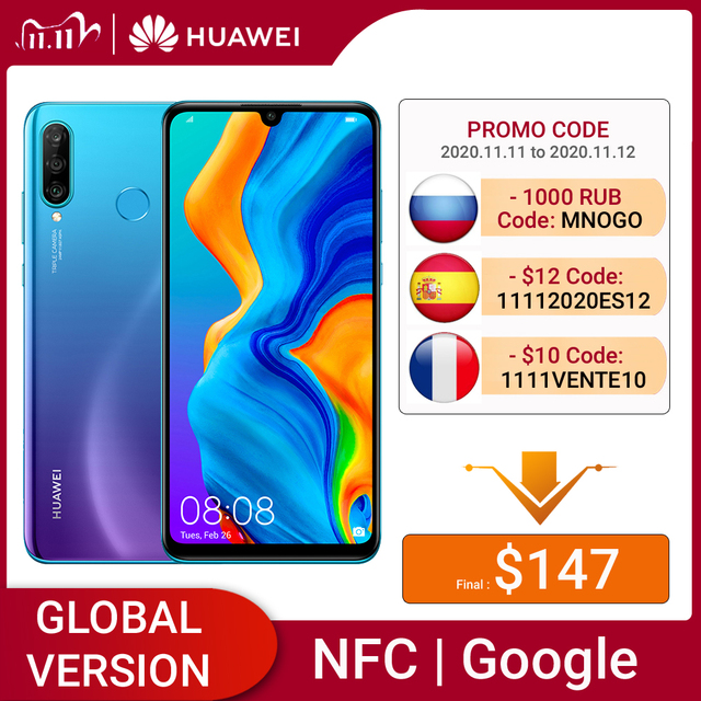 Huawei P30 Lite 4GB 64GB Smartphone Global Version 6.15 inch NFC with Google Play Mobile phone OTA Update Android 9 24MP Camera