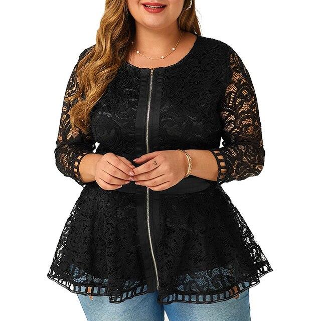 6XL Plus Size Lace Patchwork Blouse Women Spring Loong Sleeve Shirts Hollow Out Laides Tops Elegant Slim Blouses Blusas D30 1