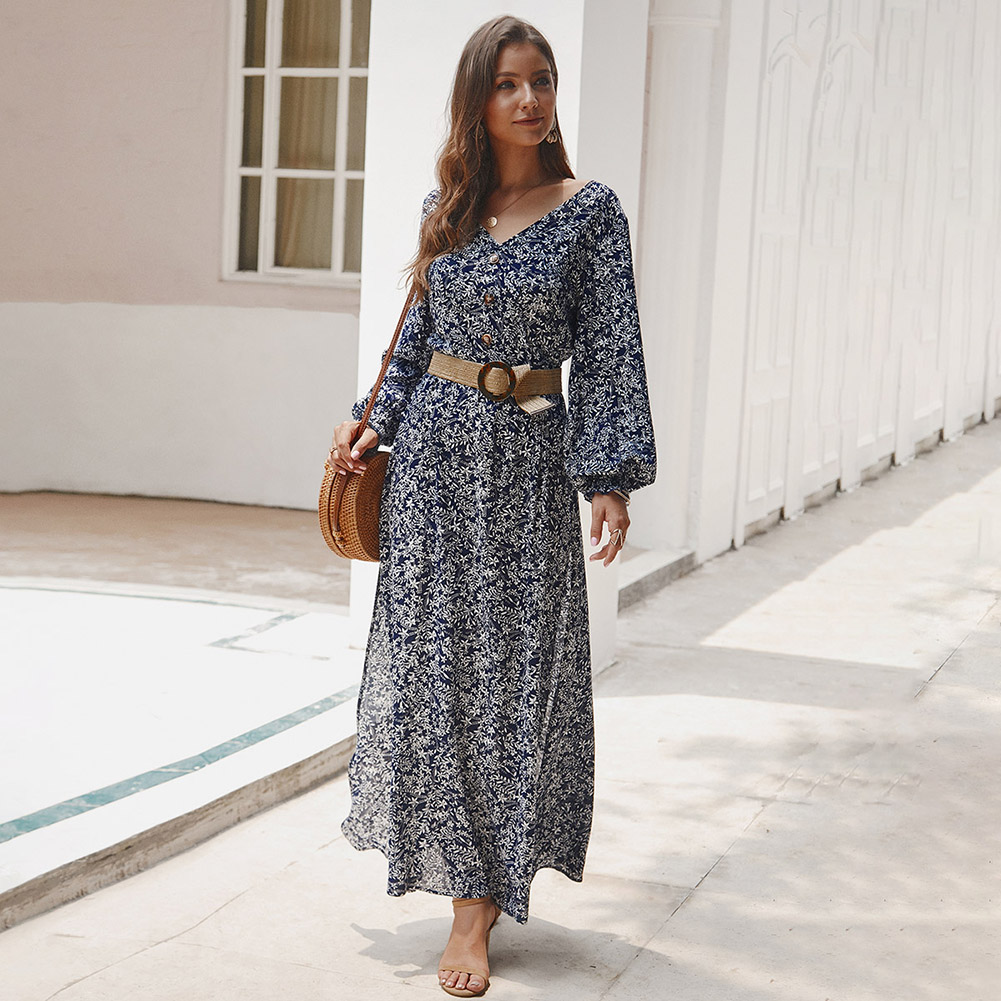 Autumn Long <font><b>Maxi</b></font> <font><b>Dress</b></font> Women Casual Boho Floral Print Long Sleeve Beach <font><b>Dress</b></font> <font><b>Sexy</b></font> V-Neck Plus Size Wrap <font><b>High</b></font> <font><b>Slit</b></font> Party <font><b>Dress</b></font> image