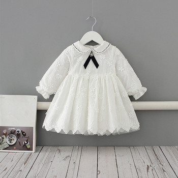 Girls Dress Peter Pan Collar Toddler Embroidery Kids Baby Girls Cotton Long Sleeve Dress Outfits Kids Clothes white 0-4Y