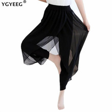 YGYEEG 2019 Casual Pants Split Women Mid Waist Wide Leg Flowy Pants Summer Plus Size Elastic Sexy High Split Loose Long Trouser