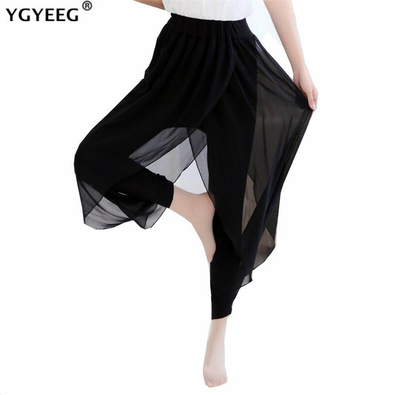 YGYEEG 2020 Casual Pants Split Women Mid Waist Wide Leg Flowy Pants Summer Plus Size Elastic Sexy High Split Loose Long Trouser
