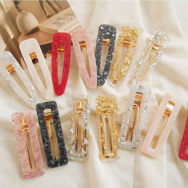 Korea Acrylic Waterdrop Hairpins for Women Girls Barrettes Fashion Hair Accessories Tin Foil Clips Transparent Hair Grip Tiara