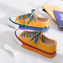 SWYIVY Rainbow White Shoes Woman Canvas Sneakers With Color Lace 2020 Spring New Female Casual Sneakers Platform Shoes White