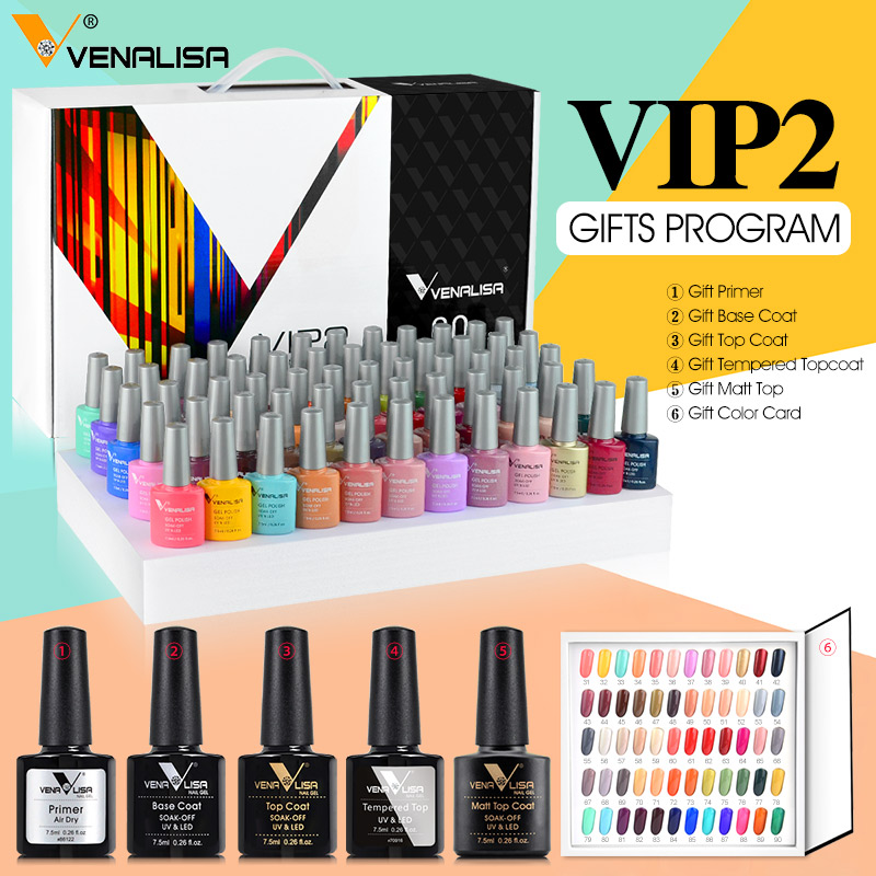 Venalisa Fashion Bling 7.5ml Soak Off UV Gel Nail Gel Polish Cosmetics Nail Art Manicure Nails Gel Polish VIP3 Nail Varnish 5