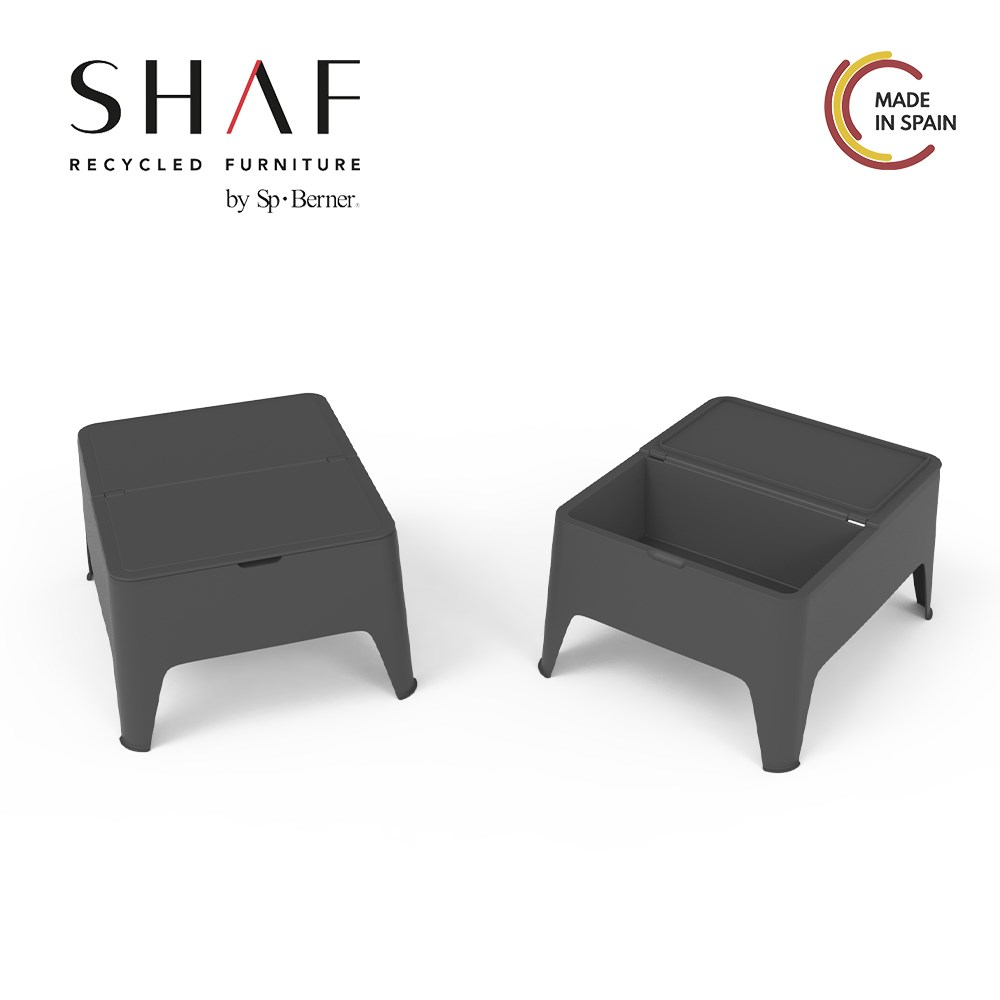 SHAF-Table Auxiliary Alaska With Drawer/compartment, Ideal For Thy Balcony Or Garden, Stackable Grey Or White Color