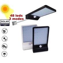 Solar Power 48 Led Solar Light PIR Motion Sensor 7 Mode White Wall Garden Light LED Street Lamp With Remote Controller цена