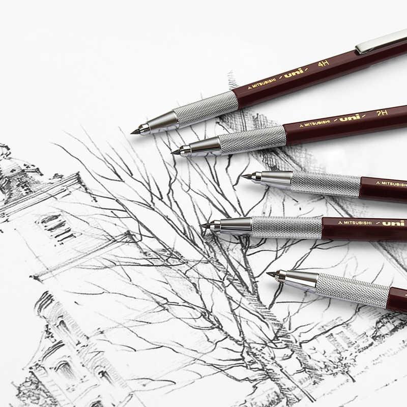 Uni Vulpotlood 2.0 MH-500 Metalen pen houder Hexagon staaf Dikke hoofd Art schets tekening comic ontwerp Student briefpapier