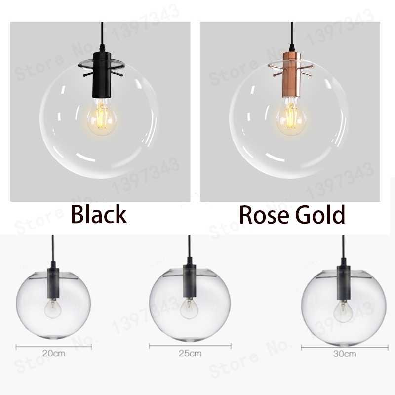GZMJ العجائب الحديثة الأسود كرة زجاجية نقية قلادة تسليم ضوء المصباح بريق LED زجاج الكرة بار المطبخ جودة عالية