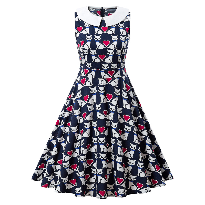2020 Europe And America New Summer Women 's Cotton Cat Print Peter Pan Collar A-line Dress