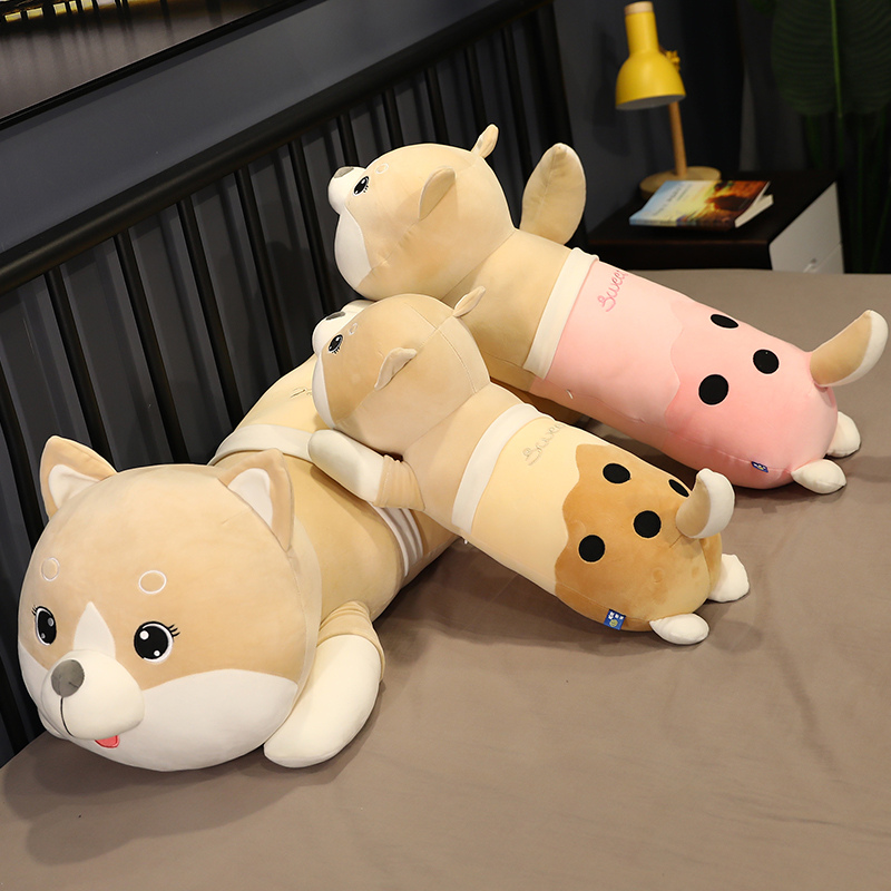 Boba Dog Plush Toys Stuffed Animal Milky Tea Doggy Pillow Creative Long Bed Sleeping Cushion Valentines Day Gifts For Kids Girls Just6F