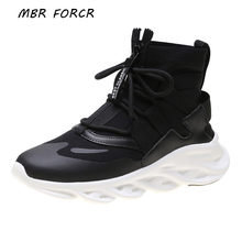MBR FORCE knit Sneakers women Ankle Boots Flat platform Breathable Thick bottom Casual Rear High-top lace-up Shoes(China)