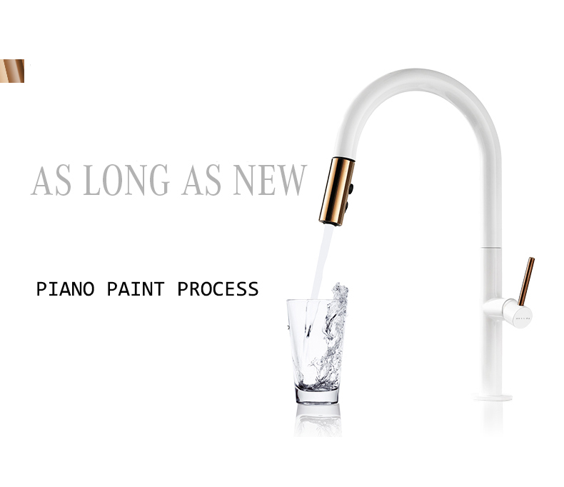 H251f606d27f34b0ca1de6a16cdc044cd8 Newly Arrived Pull Out Kitchen Faucet Rose Gold and White Sink Mixer Tap 360 Degree Rotation Kitchen Mixer Taps Kitchen Tap