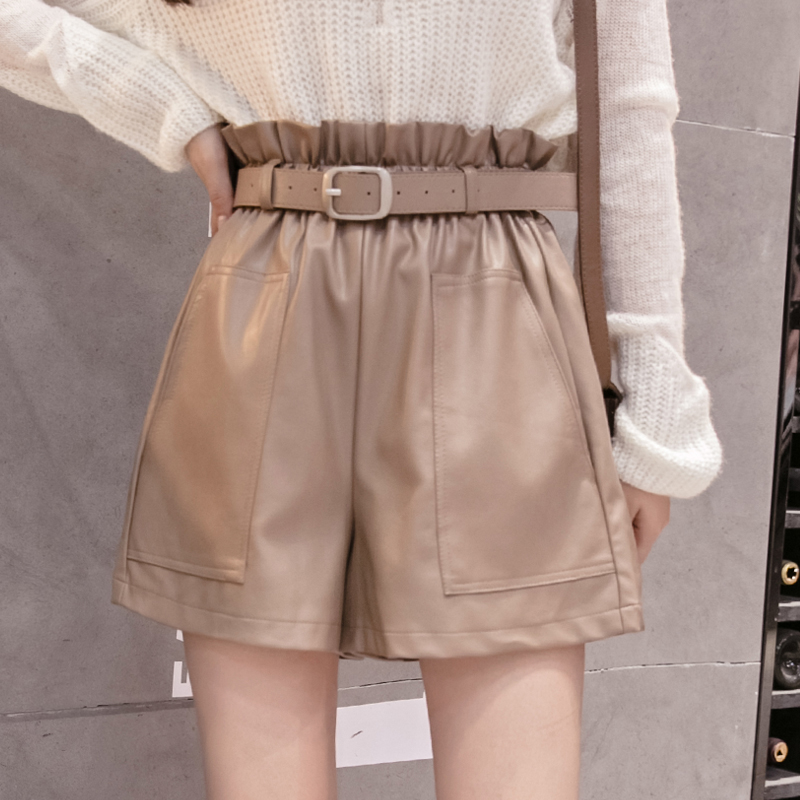 Elegant Leather Shorts Fashion High Waist Shorts Girls A-line Bottoms Wide-legged Shorts Autumn Winter Women 6312 50 10