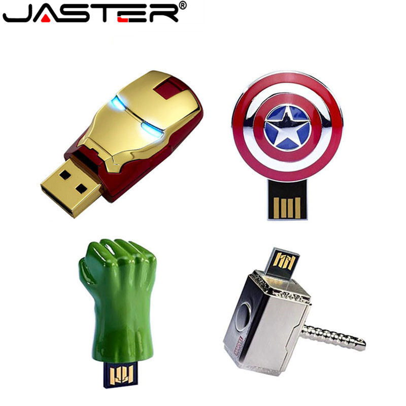 JASTER Metal Iron Man Captain American Shield Hammer Usb Flash Drive Memory Stick Hulk Pendrive 4GB 8GB 16GB 32GB 64GB Gift