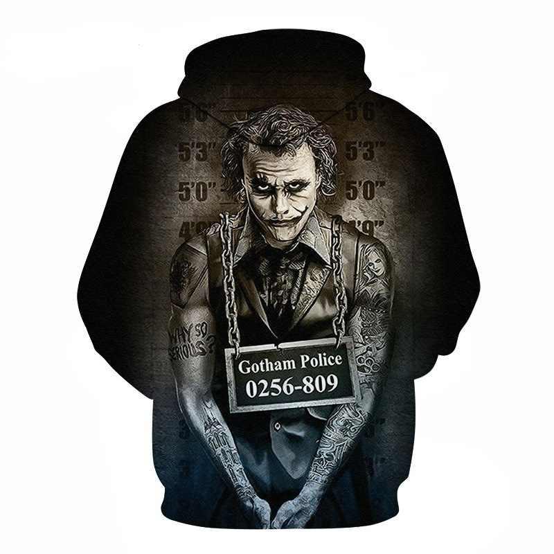 Suicide squad Joker 3D Hoodies Sweatshirts Mannen Merk Trainingspakken Gedrukt Trui Kapmantel Grappige Hoody Plus Size