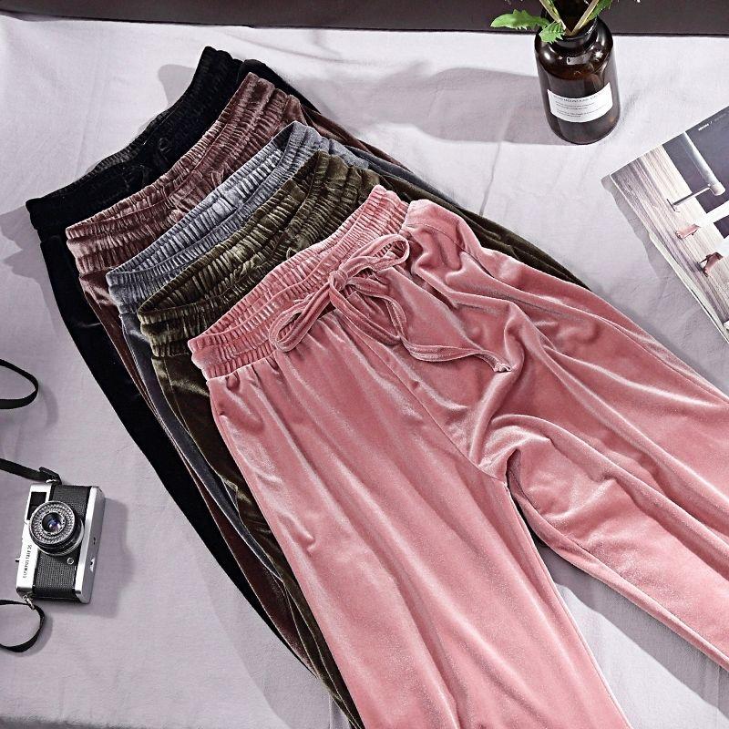 Spring Autumn Wide Leg Pants Women's 2019 Winter New High Waist Drop Gold Velvet Sports Casual Loose Straight Long Pants