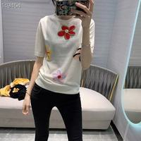 Spring New Women Pullover Fashion Wool Loose Casual Short Sleeve Floral Embroidery White / Black / Yellow Top Hot Shirt 2020