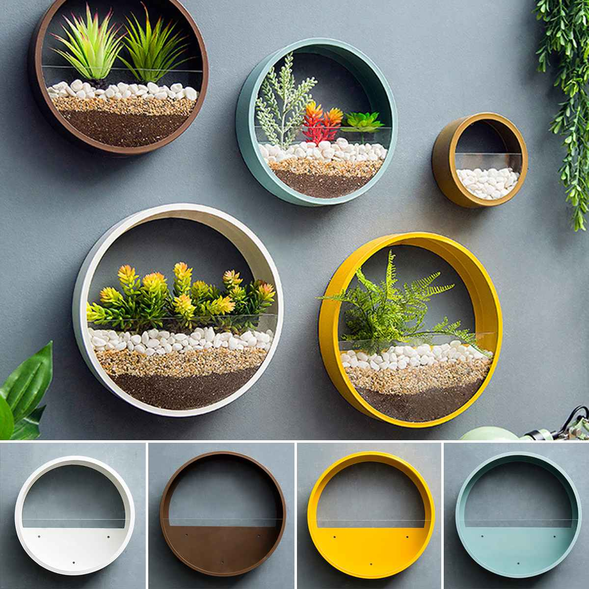 Modern Round Iron Wall Vase Home Living Room Restaurant Hanging Flower Pot Wall Decor Succulent Plant Planters Art Glass Vases