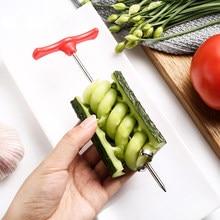 Couteau à concombre magique en acier inoxydable, forme d'emballage en spirale, Conception artistique, couteau à fruits et légumes en spirale