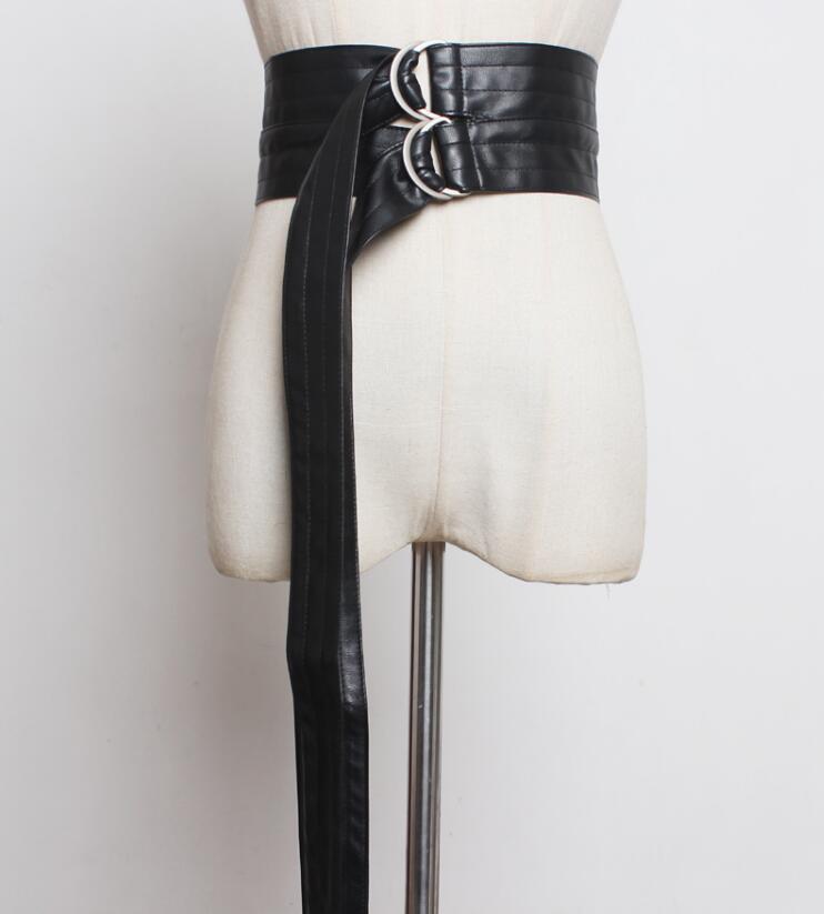Women's Runway Fashion  Pu Leather Black Long Cummerbunds Female Dress Corsets Waistband Belts Decoration Wide Belt R2410