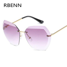 RBENN Luxury Fashion Rimless Sunglasses Women Brand Designer