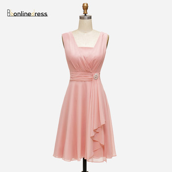 Bbonlinedress Blush Graduation Dress Chiffon A Line Homecoming Dress Sleeveless Short Party Cocktail Dress Graduation robes halter backless applique beaded homecoming dress illusion lace up sleeveless cocktail dress short blue a line graduation gown