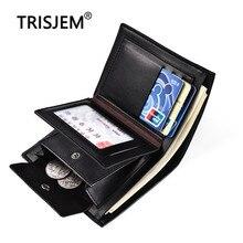 Кошелек для отдыха в три сложения с карманом для монет, Большой Вместительный повседневный деловой кожаный чехол-бумажник, мужской короткий кошелек для кредитных карт, мужской кошелек для монет