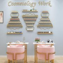Manicure rack, wall mounted iron nail polish rack, badminton shape oil glue display rack, wall cosmetics rack
