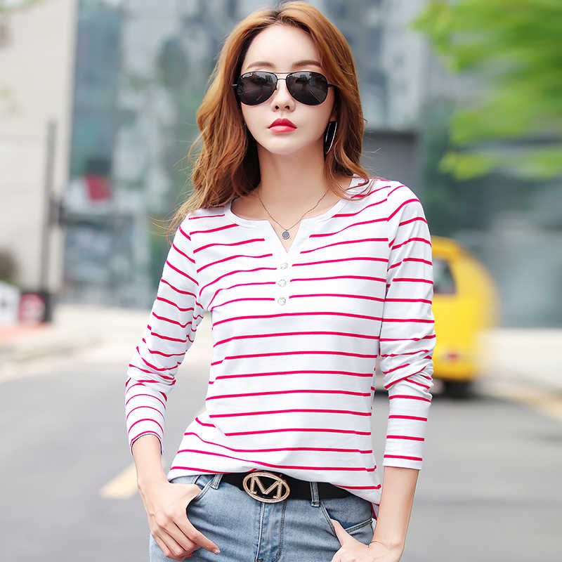Vrouwen T-shirt 2019 Zomer Top Shirts V-hals Korte Mouw Casual T-shirts Wit Strip T-shirt Plus Size Katoenen T-shirt femme #9
