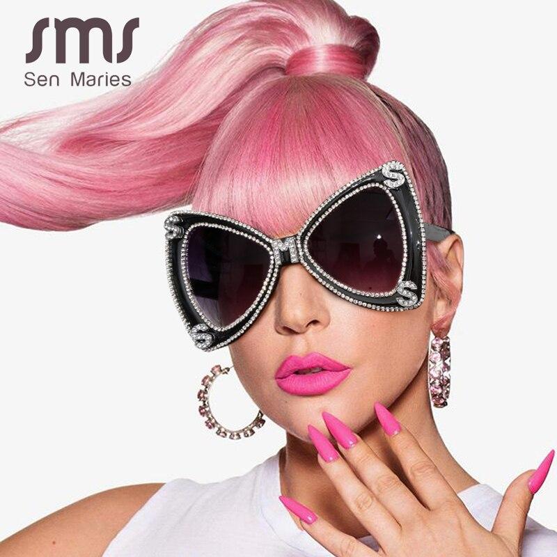 Sen Maries Diamond Sunglasses Women 2020 Luxulry Brand  Butterfly Oversized Sunglasses Men Vintage Crystal Glasses UV400 Oculos