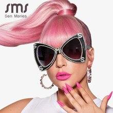 Sen Maries – lunettes de soleil surdimensionnées en diamant pour hommes et femmes, marque de luxe, papillon, Vintage, cristal, UV400, 2020