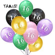 YAAAS! Ballons en Latex pour anniversaire de 16 ans, 10 pièces, 12 pouces, décoration pour fête de mariage