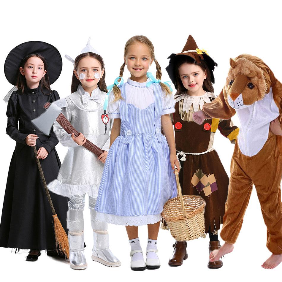Umorden çocuk çocuklar sihirbazı teneke adam Dorothy korkuluk cadı aslan Cosplay kostümleri kızlar için erkek genç kız erkek cadılar bayramı