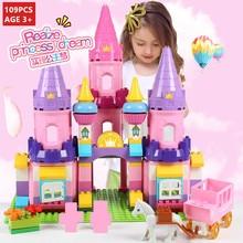 109Pcs Princess Castle Horse Friends Figures Big Size Building Blocks Sets LegoINGLs Duplo DIY Bricks City Toys Christmas Gifts