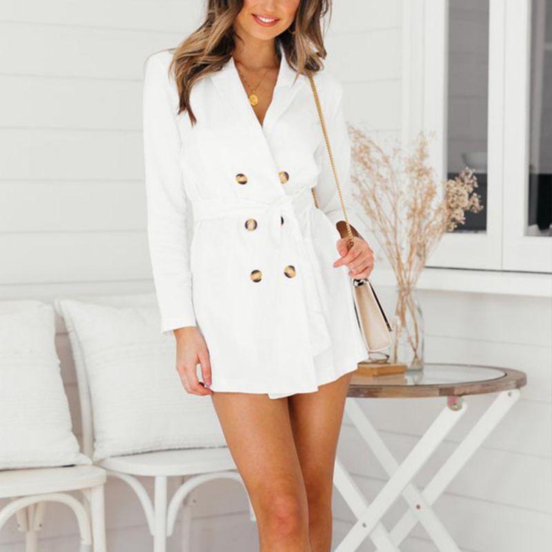 Women Slim Fit Trench Coat Thin Outwear  Long Sleeve Tunic Double Windbreaker Overcoat X