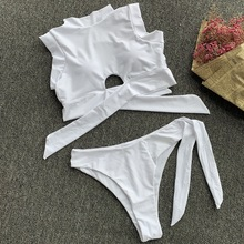 String Bikini 2019 Thong High Neck Bikini Backless Crop Top Women Sexy Push Up Swimsuit White Front Knot Thong Bathing Suit S-L knot front spot crop top