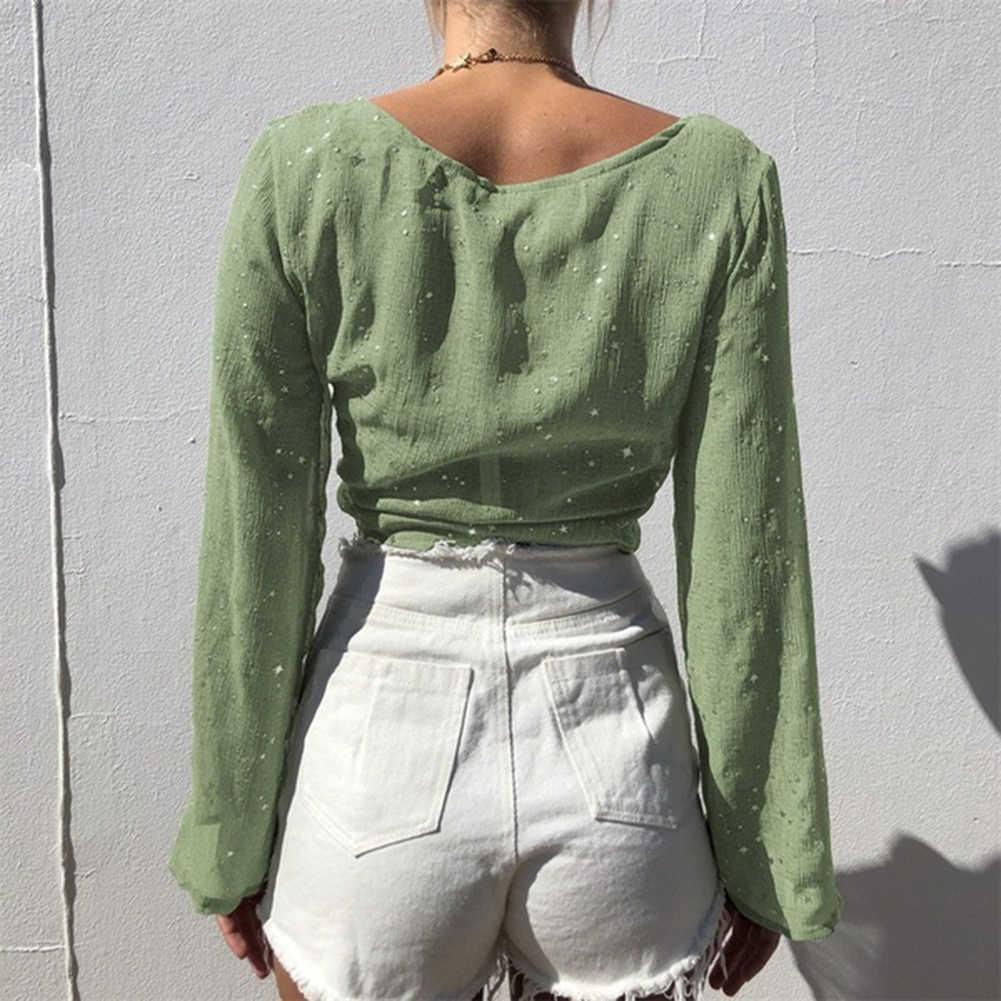 Seksi Wanita Emas Stamping Deep V Leher Leher Perban Transparan Longgar Crop Top Wanita Kemeja Semua Yang Sesuai dengan Musim Semi baju Atasan Wanita