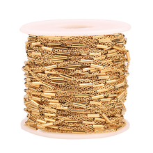 2 Meter Clip Beads Tube Stainless Steel Cross Gold Chain for DIY Cable Necklaces Bracelets Jewelry Making Accessories