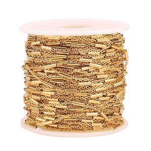 2 Meter Clip Beads Tube Stainless Steel Cross Gold Chain for DIY Cable Chain Necklaces Bracelets Jewelry Making Accessories(China)