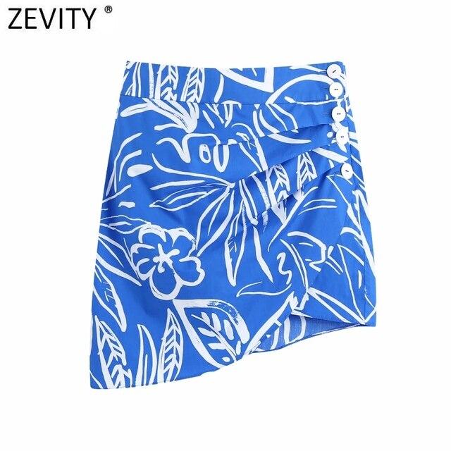 Zevity Women Vintage Pleats Design Floral Print Hem Irregular Skirt Faldas Mujer Female Side Zipper Buttons Mini Vestidos QUN791 1