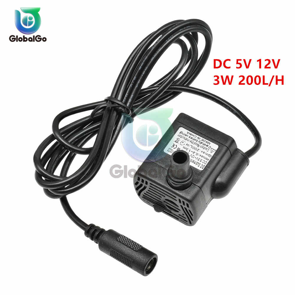Sangat Tenang DC 5V 12V 3W 200L/H Aliran Tingkat Tahan Air Brushless Pompa Submersible Mini pompa Air Tenaga Surya USB Mikro Submersible Pump