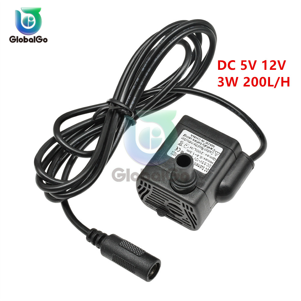 Ultra-quiet DC 5V 12V 3W 200L/H Flow Rate Waterproof Brushless Pump Mini Submersible Water Pump Solar Micro USB Submersible Pump